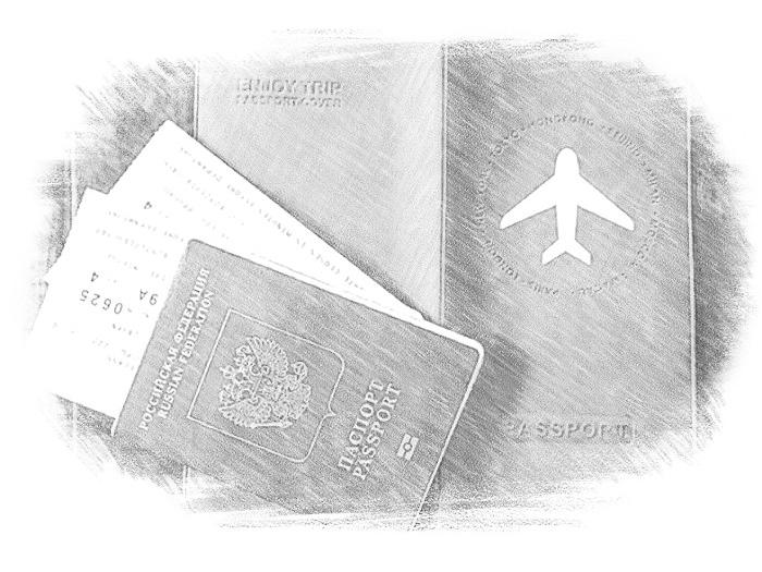 Паспорт и билеты на самолет
