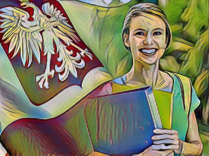 Студентка и польский флаг